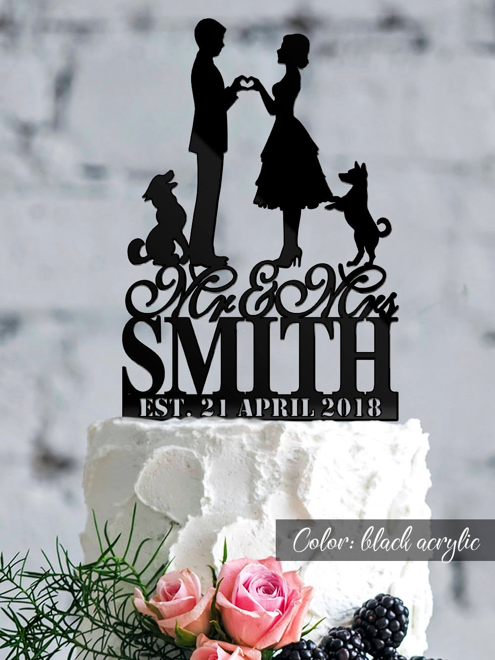 Wedding Cake Topper With Bride & Groom Wedding Date. Cake Topper. Custom Silhouette Personalized