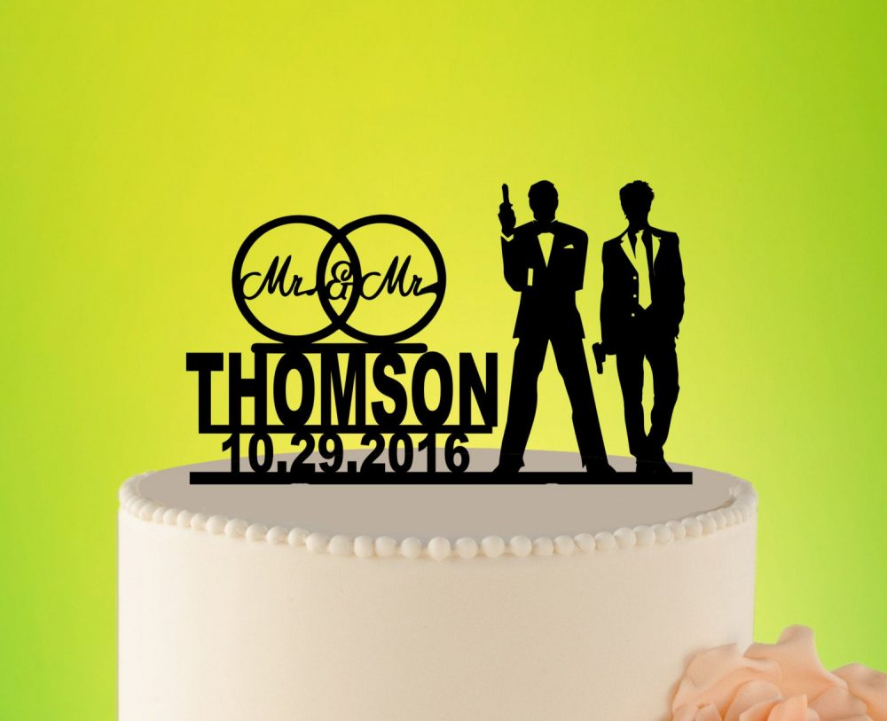 Gay Wedding, Silhouette, Cake Topper, Gay, Weddings, Homosexual, Same Sex Mr Silhouette, Decorations L2-02-003