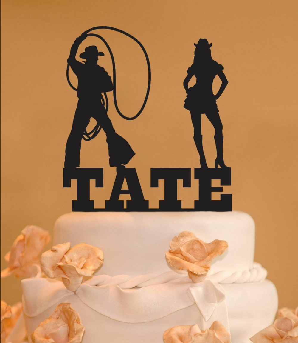 Silhouette Cake Topper - Cowboy Cowgirl Western Persoanlized Cake Topper Your Name Silhouettes