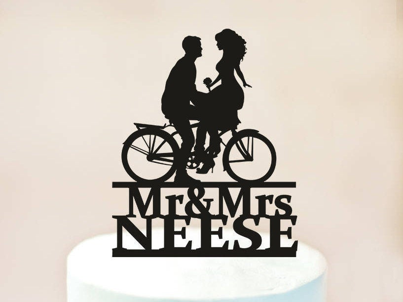 Wedding Bicycle Cake Topper, Wedding Topper, Bride & Groom Silhouettes On Bike, Bicycle Silhouette Topper, Custom Cake Topper | 1115