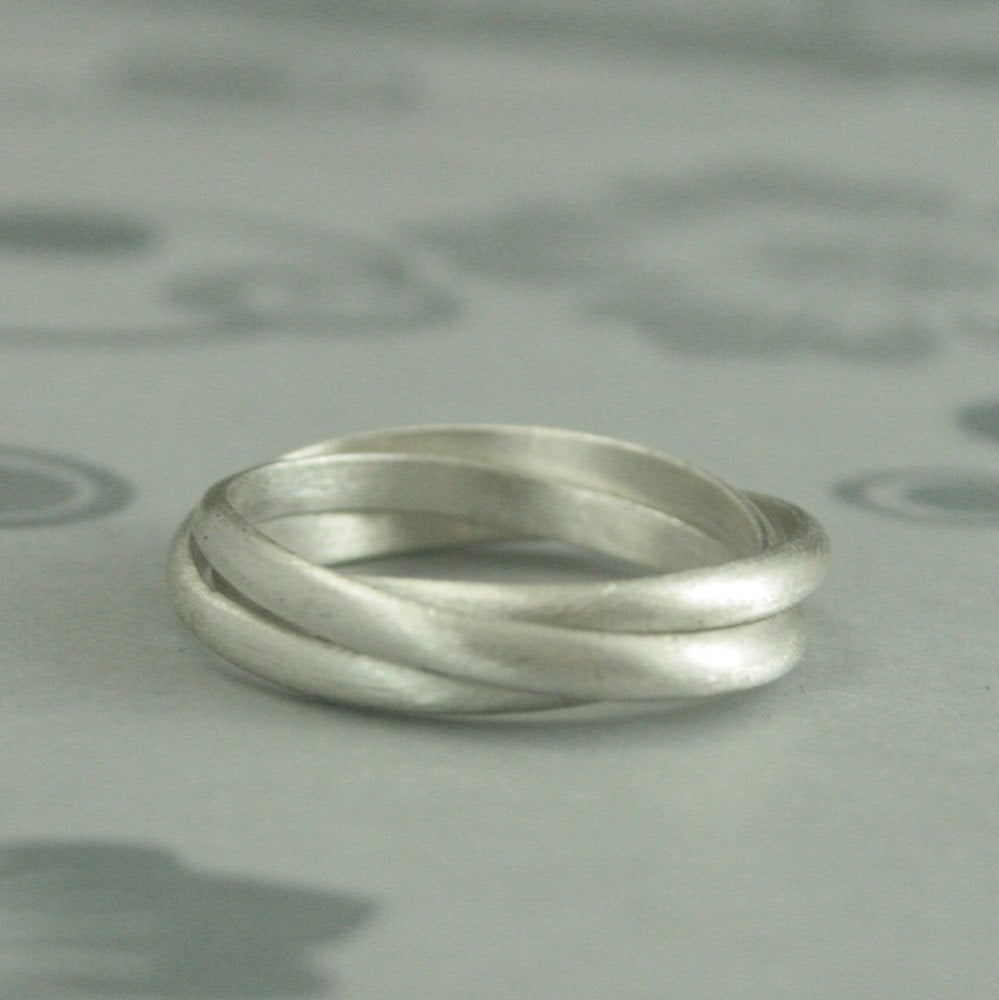 Silver Rolling Ringsterling Interlocking RingSilver Russian Wedding Triple Band