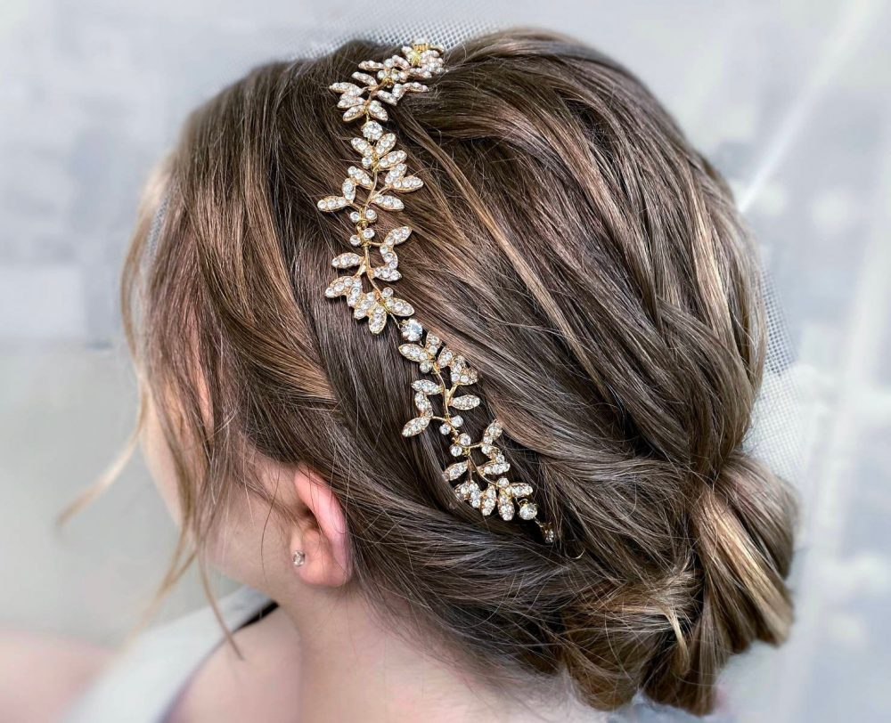 Bridal Hair Piece With Crystal Head Leaves For Wedding Hair Band in Gold Or Silver Head Chain