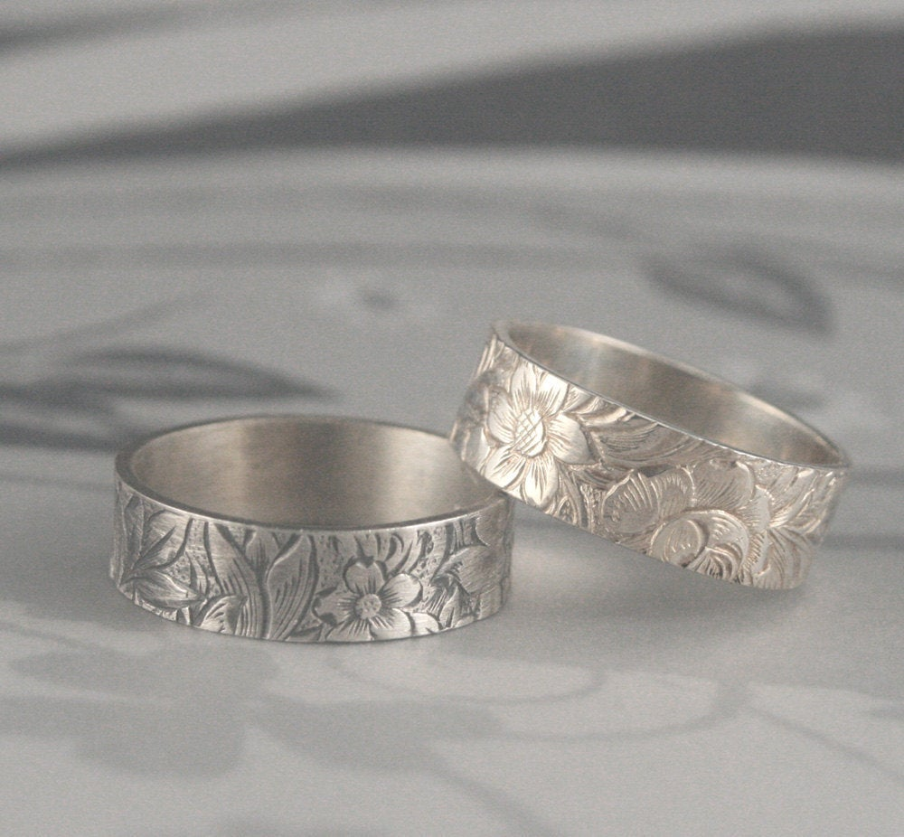 Flora & Fauna 5-6mm Wide Sterling Silver Band Or Floral Wedding RingSpring/Summer Lily Flower Bouquet Patterned