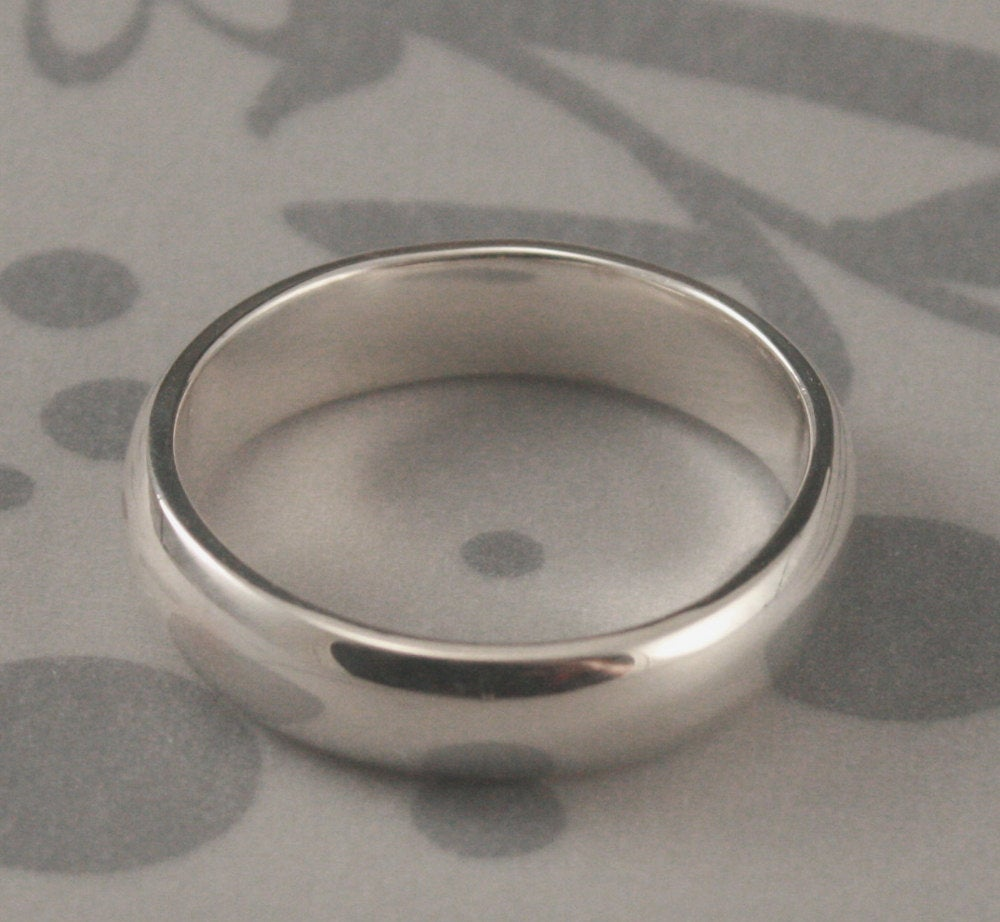 Plain Jane 5mm Wide Solid Sterling Silver Wedding BandRounded Traditional RingSimple Band