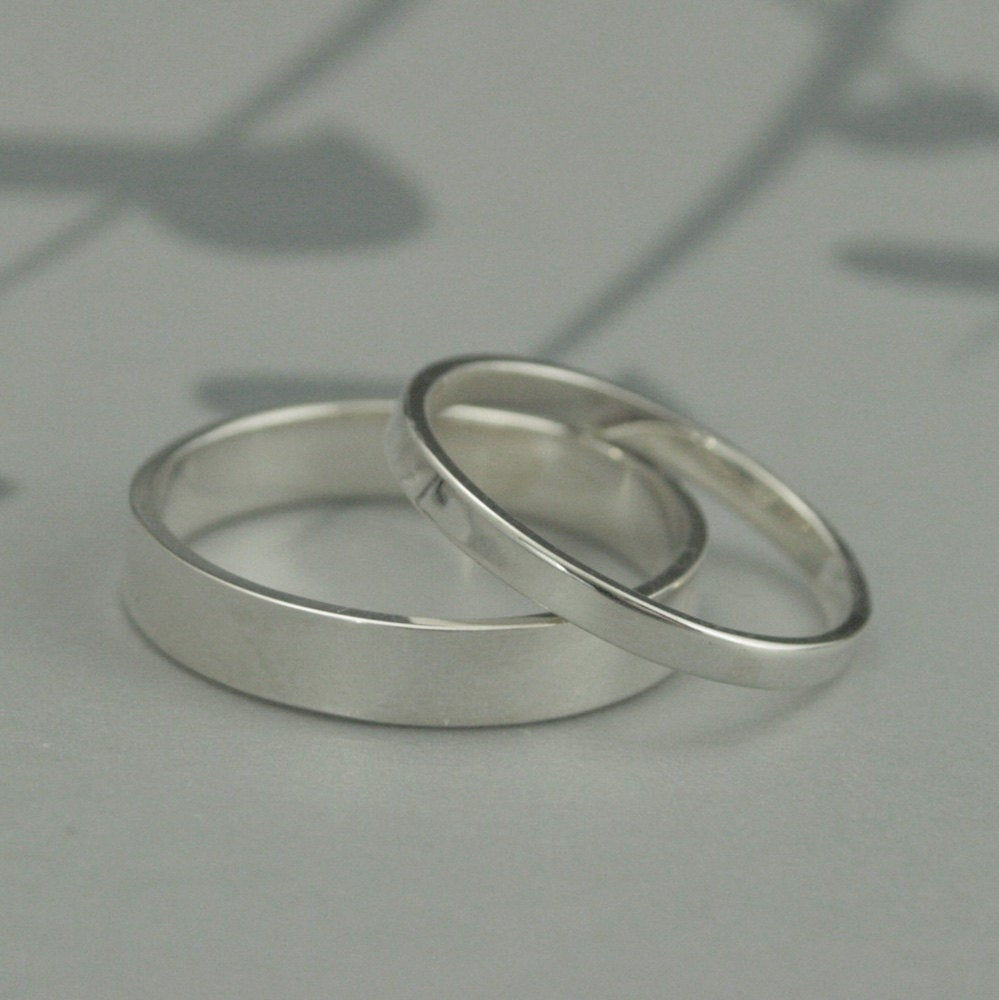 The Straight & Narrow Thin BandsSolid Sterling Silver Flat Edge Wedding Ring SetModern His Hers Bands