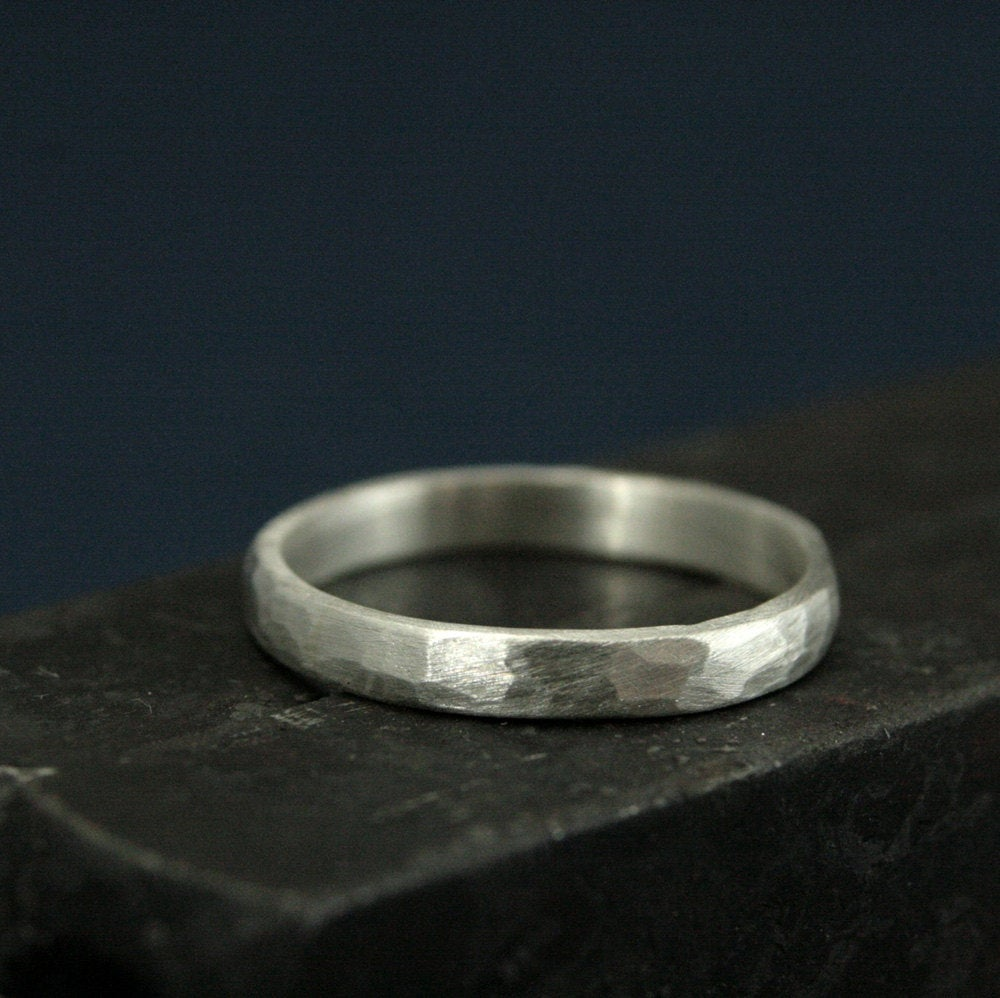 Perfect Hammered 2.5mm BandWomen's Silver Wedding RingWedding BandSimple & UniqueSolid Sterling Band-Rustic Band