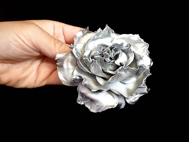 Silver Rose Hair Clip Wedding Bridal Band Accessories Handmade Flower Floral Baby Girl Hairpin Hairpiece