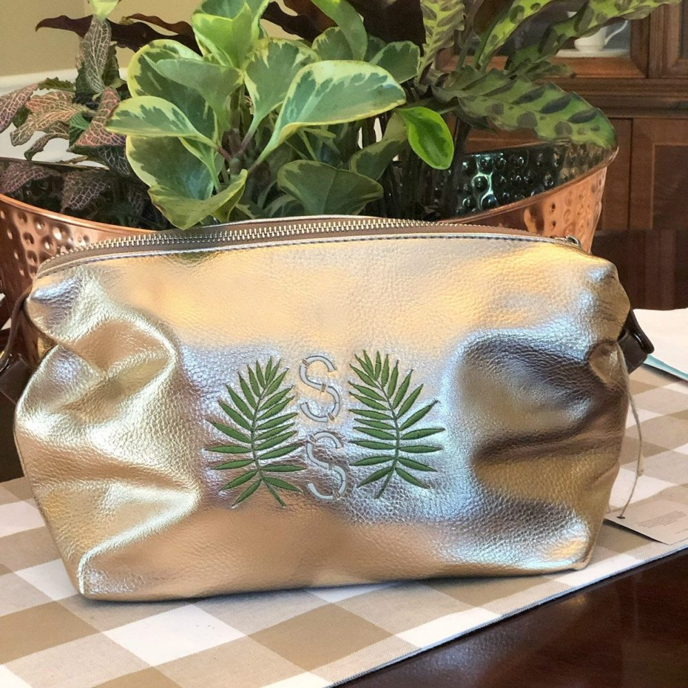 Personalized Makeup Bag, Rose Gold Bag Monogram Cosmetic Palm Leaf Monogram, Leaves Jewelry Case