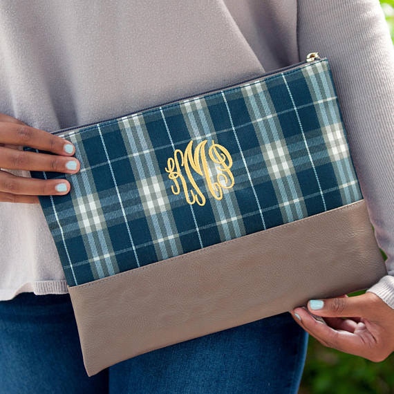 Plaid Cosmetic Bag-Makeup Bag-Clutch-Personalized Monogram Included