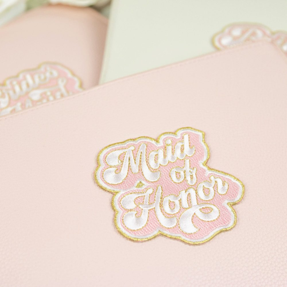 Bridal Party Vegan Leather Clutch Bag - Custom Name Makeup Cosmetic Proposal Gift Maid Of Honor Flower Girl B-Cb05