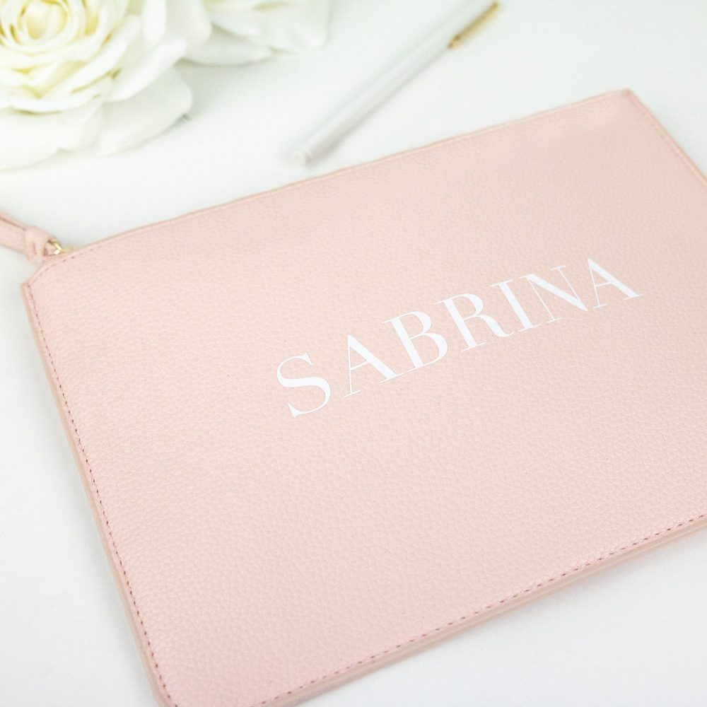 Personalized Vegan Leather Clutch - Basic Modern Serif Custom Name Makeup Cosmetic Bag For Her New Bride Friend Bridesmaid Gift B-Cb05