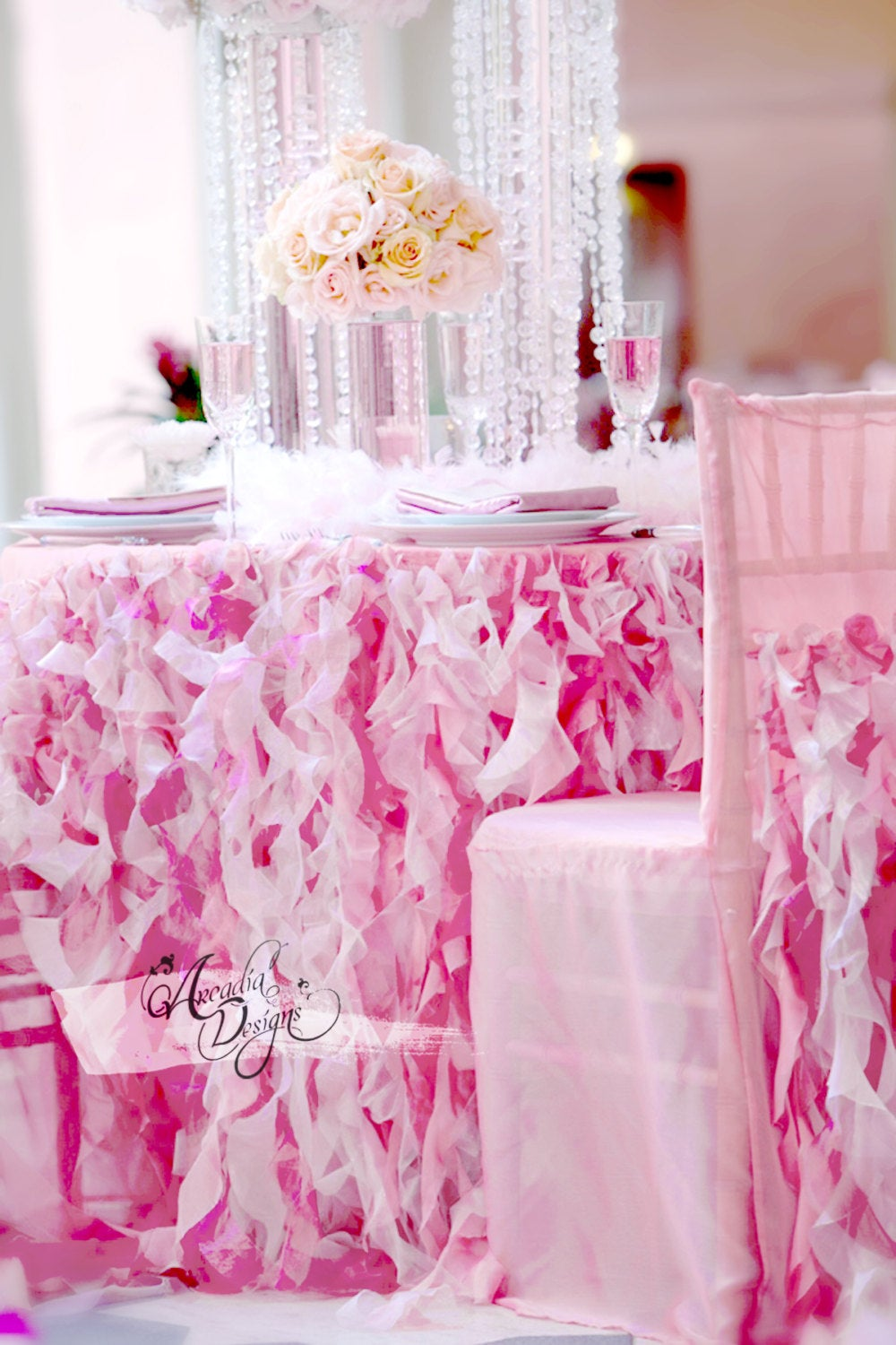 Pink Ruffle Tablecloth & Curly Willow Table Skirt Made To Order For Wedding Reception Tables Sweetheart Cake Head Bridal Shower