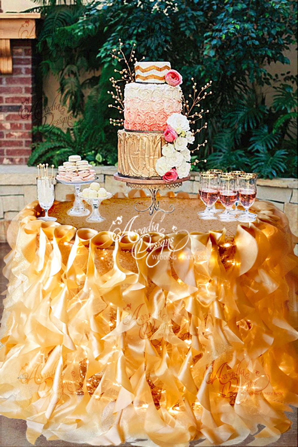 Ruffle Sequin Tablecloth Willow Table Skirt & Optional String Lights For Fairy Light Wedding Sweetheart Cake Head Bridal Event