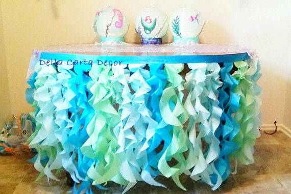 Under The Sea Table Skirt Or Photo Backdrop Tissue Tentacles Satin Ribbon For Ocean Party Shoot Aqua Mint Turquoise Ruffle