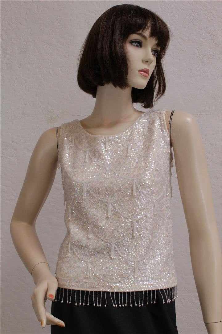 "1950's ""Deadstock"" Women's Ivory Wool Sleeveless Top With Iridescent Sequins & Beads/Size 32"" Bust"