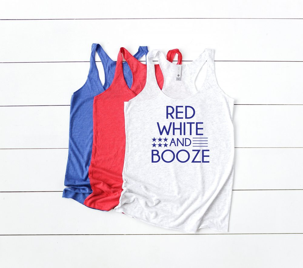 Red White & Booze - 4Th Of July Tank Funny Shirt Womens Fourth