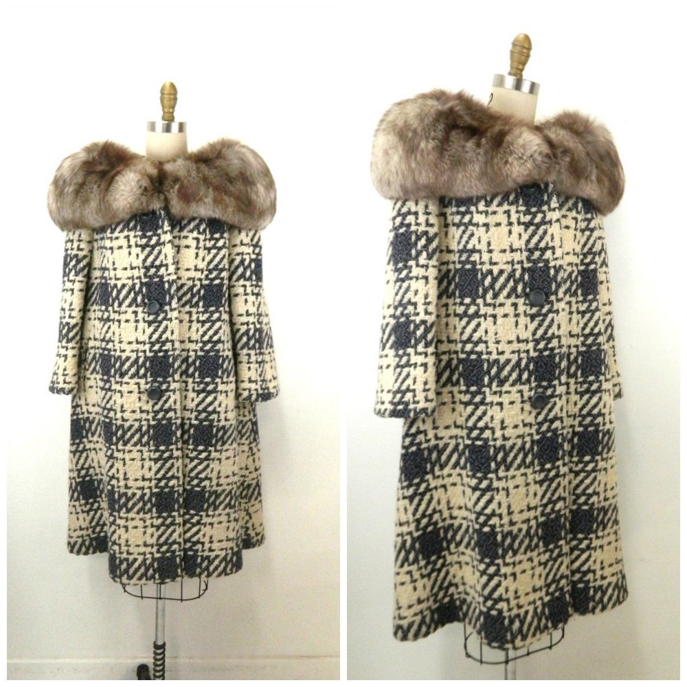 1950S Houndstooth Plaid Women's Coat...fur Collar...gray White Wool Coat...fully Lined...union Made...gorgeous Mid Century Long Coat