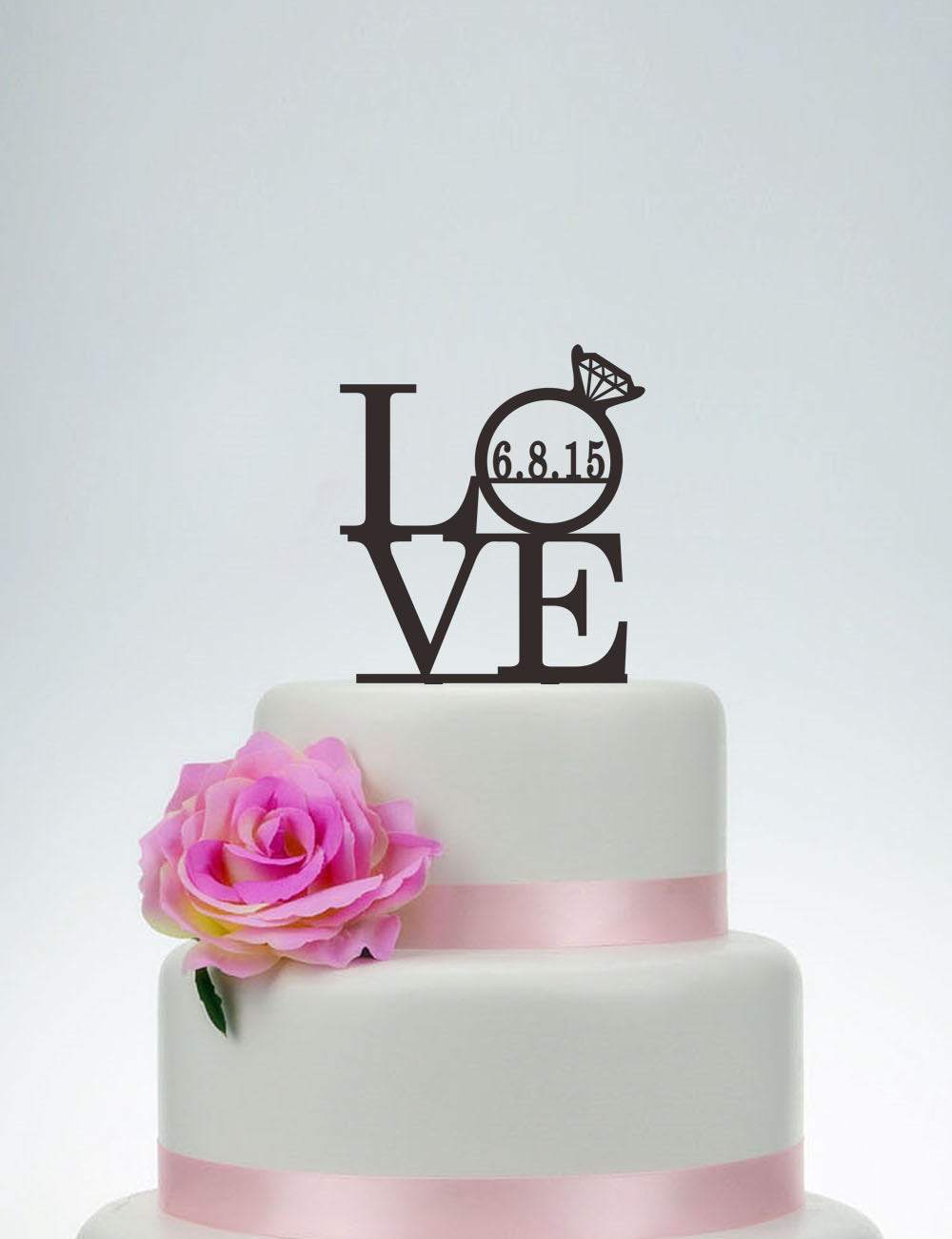 Love Cake Topper, Wedding Topper, Love Topper With Date, Personalized Decoration, Engagement P091
