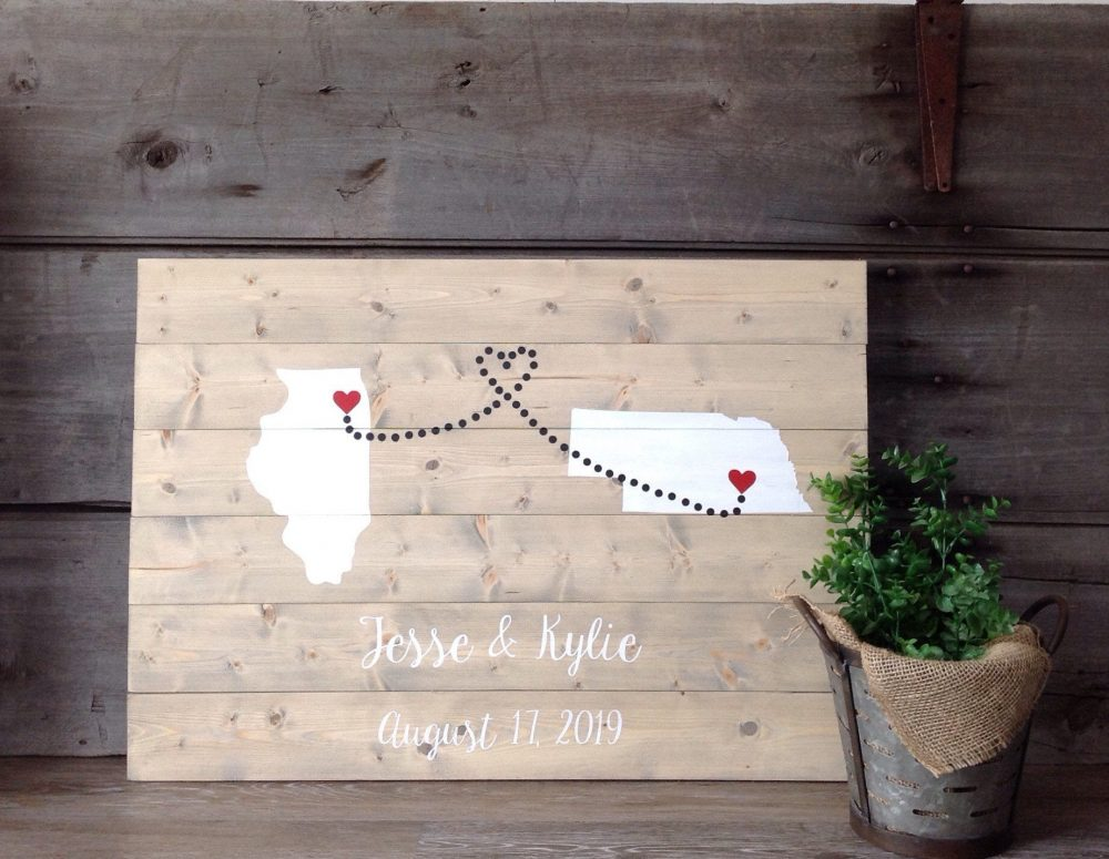 Wedding Guest Book, Wedding Guestbook, Custom Wood Sign, Guest Book With States, Hearts, Names & Date