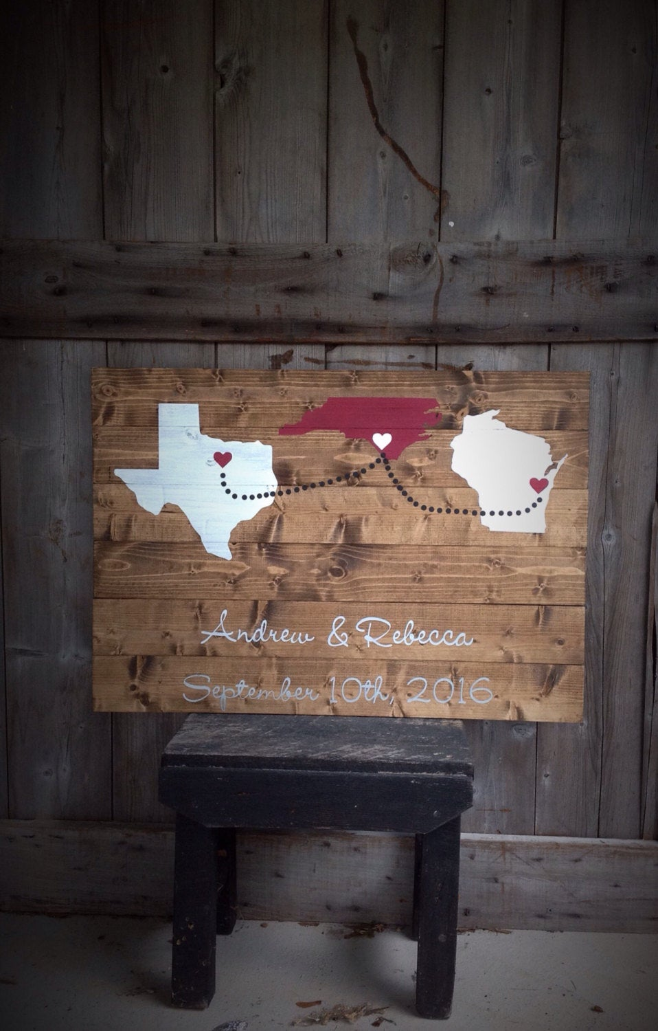 Wedding Guest Book, Guestbook, Custom Wood Sign, Guest Book With States, Hearts, Names & Date