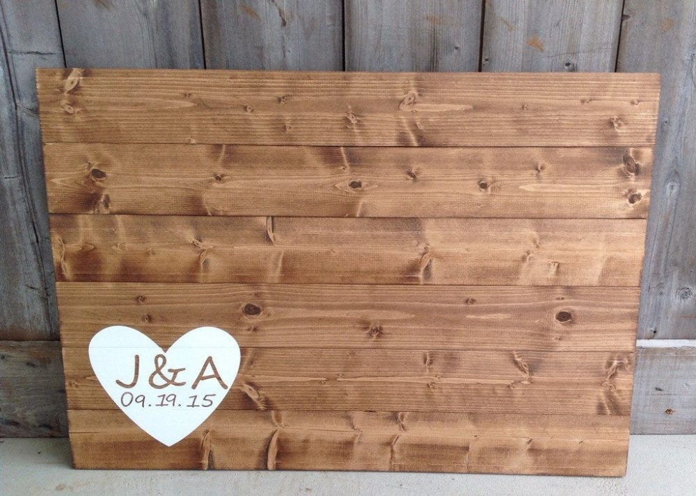 Wood Guest Book, Wedding Guestbook, Sign, Guest Book With Initials & Date With Heart, Measures 30x21