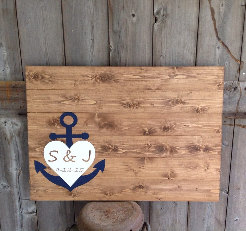 Wedding Guest Book, Wood Wedding Guestbook, Sign, Guest Book With Anchor, Heart & Initial