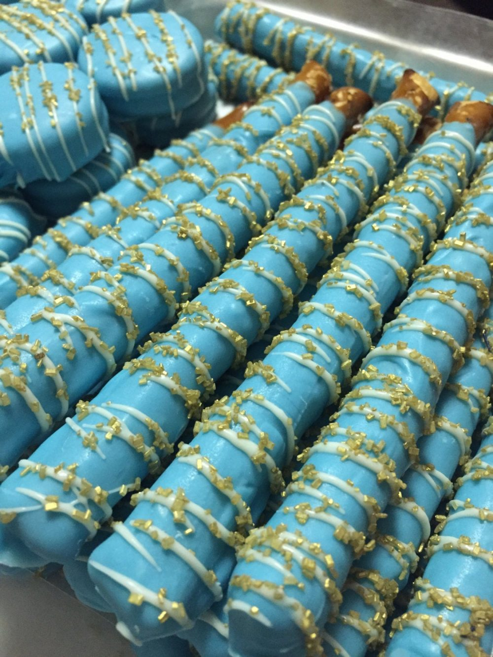 Blue Party Favors Baby Shower Gold Wedding Little Prince Birthday Chocolate Pretzels