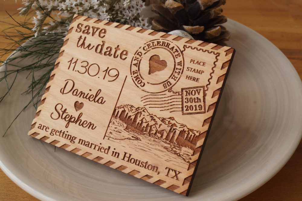 Save The Dates, Wedding Save Date Magnets, Wooden Magnets With Mountain Forest Woodland Design, Set Of 10 Pc