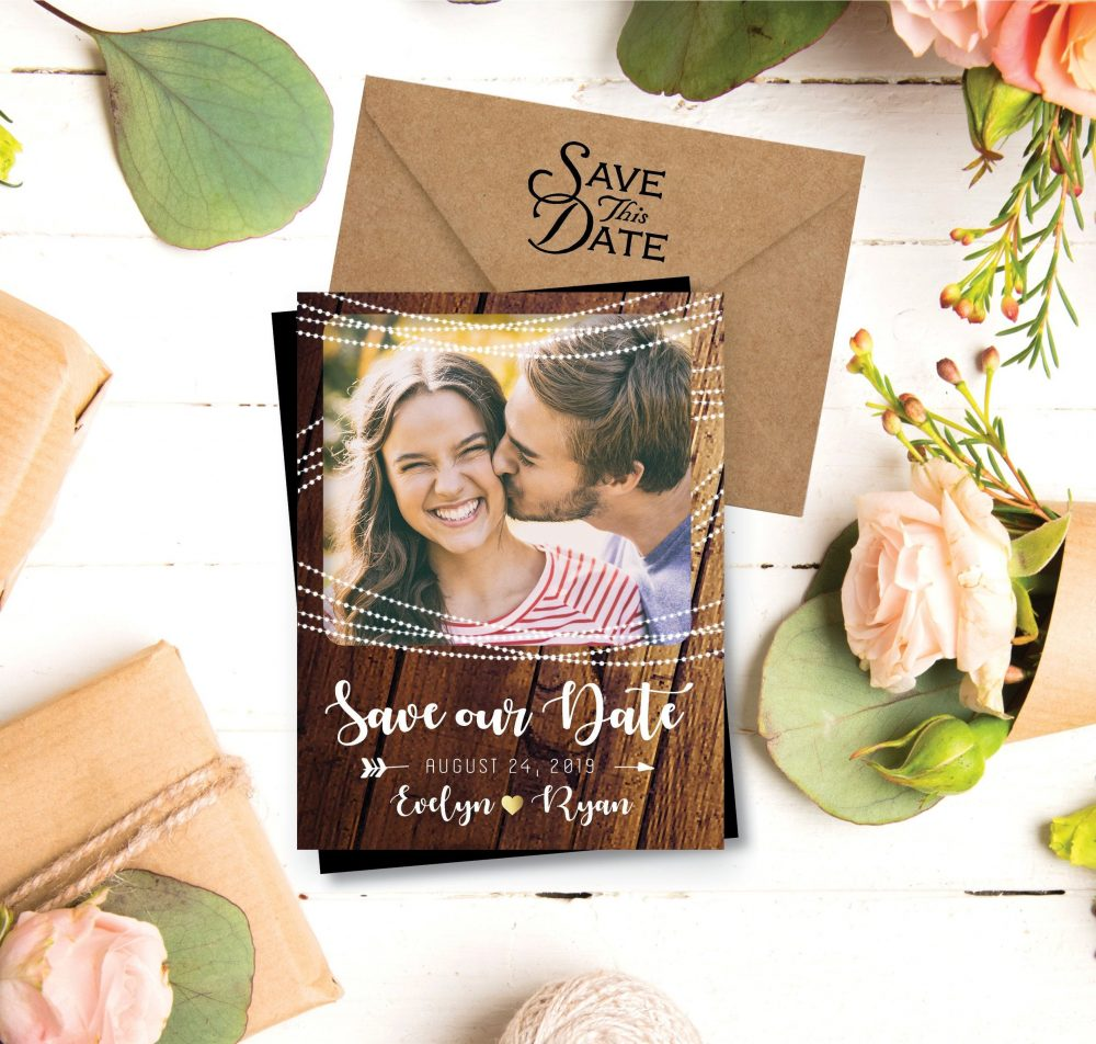 Rustic & Sweet Save The Date Photo Magnets, Personalized, Save Date Magnets, Dates, Rustic, String Lights, Modern + Envelopes