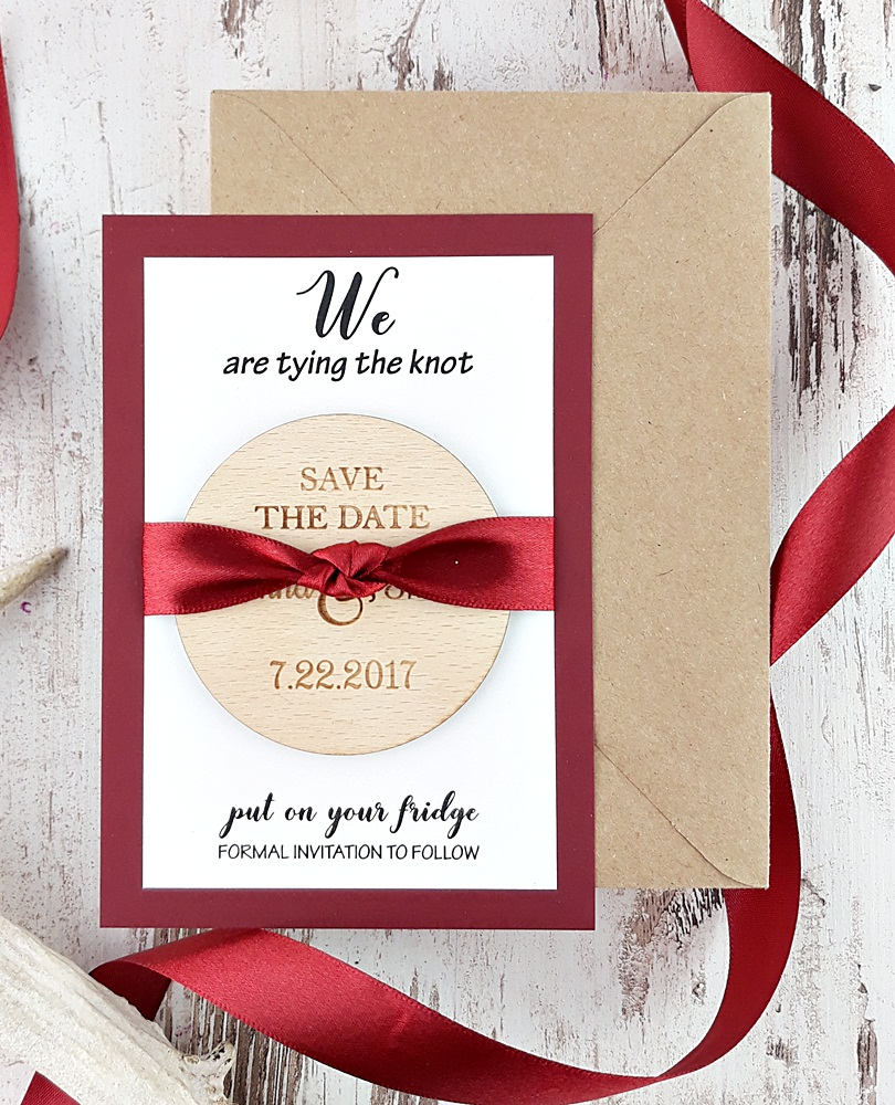 Tying The Knot Save Date Magnet, Wooden Date, Rustic Wood Wedding Invitation, Favors For Guests