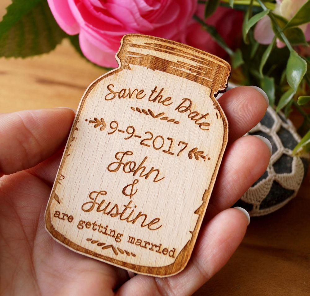 Save The Date, Save Date Magnet, Wedding Dates, Mason Jar Rustic Wooden Magnets, Magnets