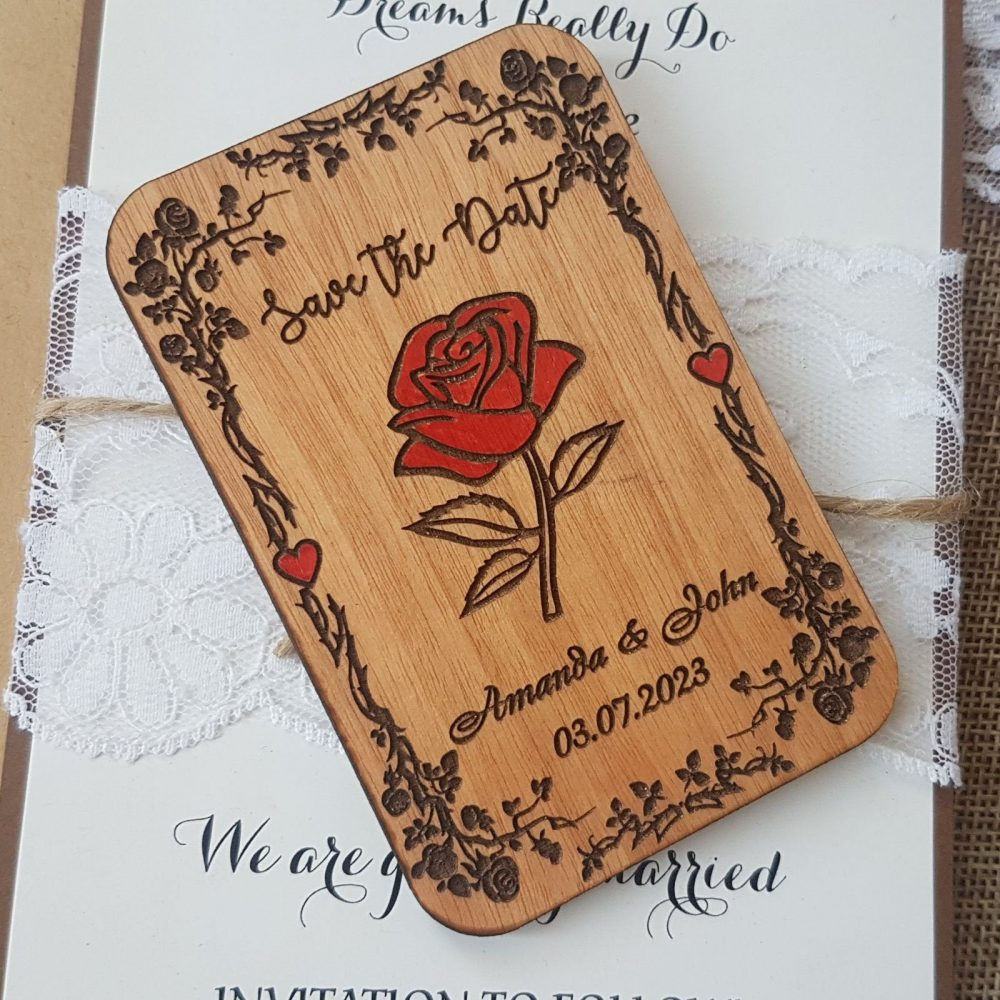 Beauty & The Beast Save Date Magnet, Custom Wooden Save Date, Disney Wedding Invitation, Unique Wood Announcement