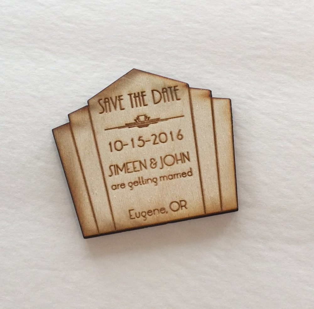 25 Wedding Save The Date Art Deco 1920S Theme, Engraved in Wood - Great Gatsby Inspired Roaring 20S Save Date Magnet