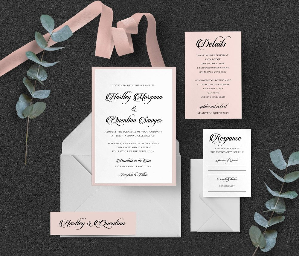 Blush Wedding Invitations, Pastel Invitation, Spring Wedding, Pink Feminine Garden Invitations