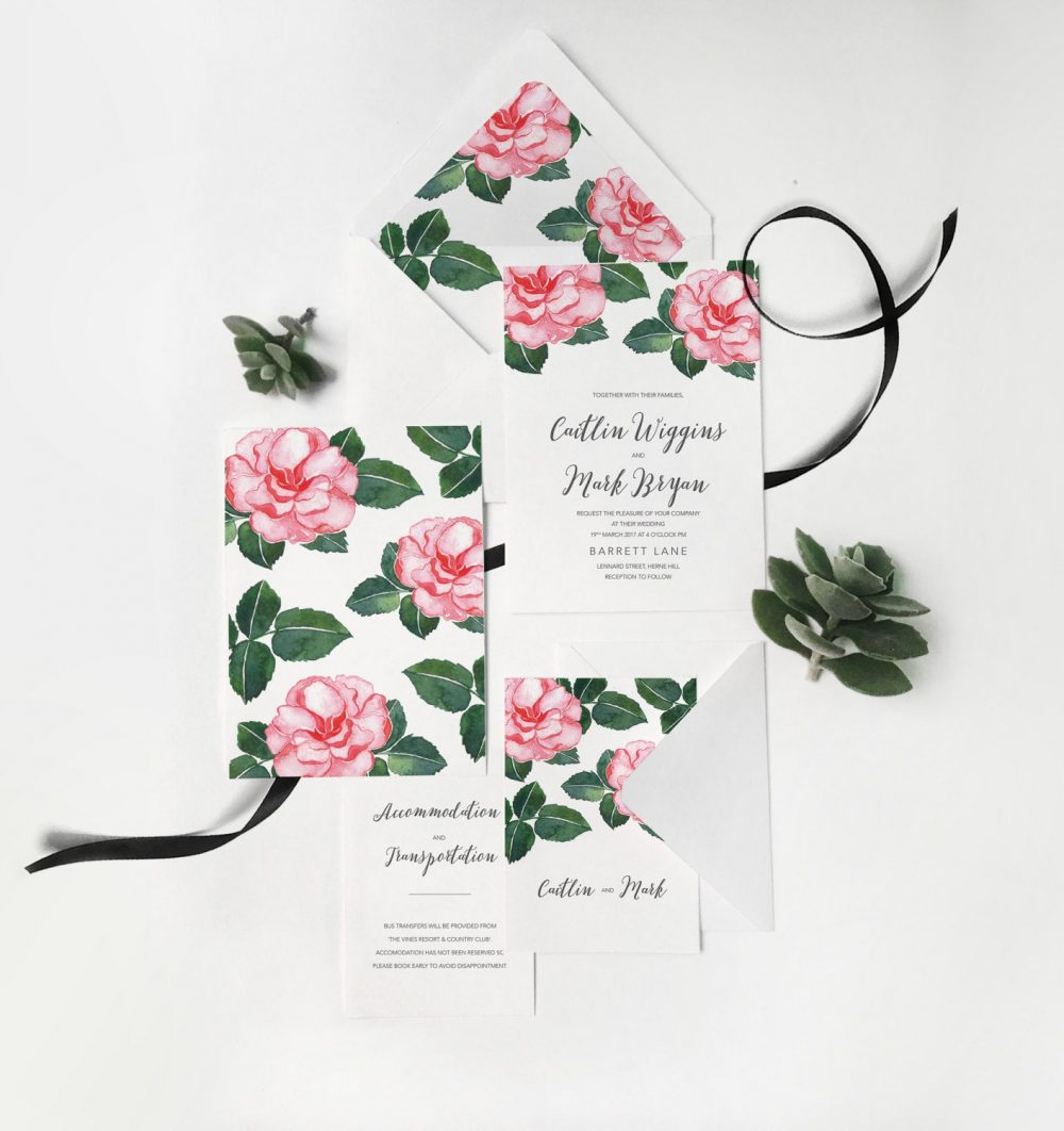 Camellia Rose Peony Wedding Invitation Watercolor Floral Fall Colors Flower Boho Invite Set Invitations 18