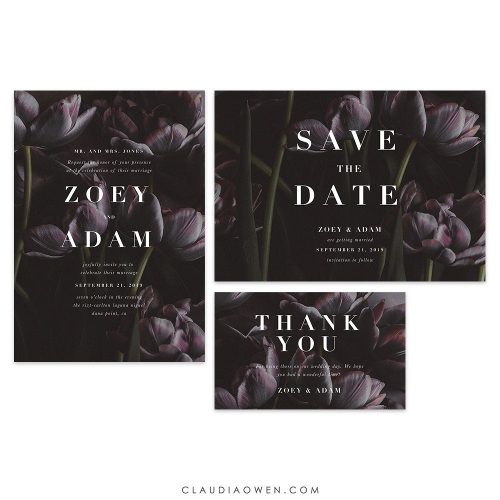 Garden Wedding Suite, Tulip Flower Personalized Invitation, Moody Dark Florals Save The Date, Greenery Thank You Card