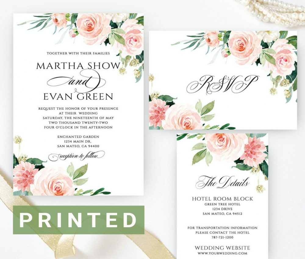 Wedding Set | Floral Wedding Invitations Flower Invitation, Spring Summer Garden Invite Pink White Green Printed