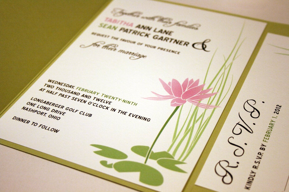 Pink Water Lily Wedding Invitation, Pond Wedding, Lake Flower Outdoor Invitation Suite, Green