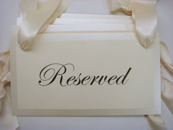 Wedding Reserved Pew Signs For Your Family Or Special Guest Seating During Ceremony, Custom Seat
