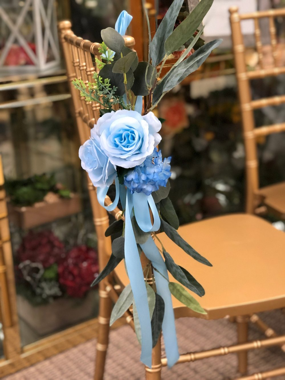 Aisle Maker Pew Chair Lantern Flower Rental Or Purchasing - Baby Blue With Eucalyptus Greenery