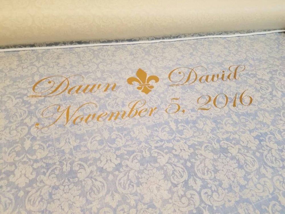 Custom Wedding Aisle Runner With Icon, Custom Decor, Sheer Floral Print Fabric