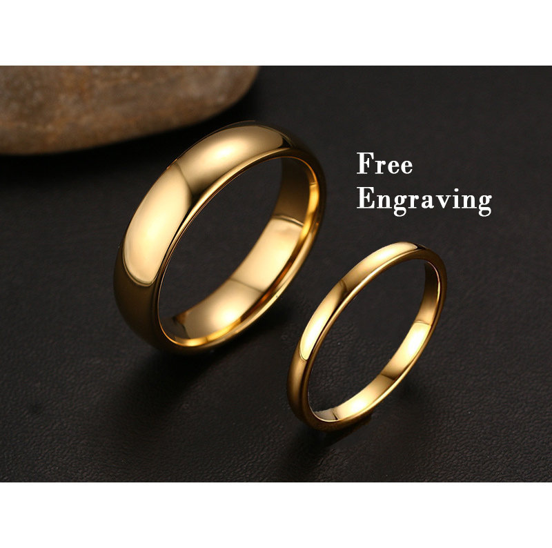 2mm/6mm Gold Tungsten Wedding Band Set, Wedding Ring Set
