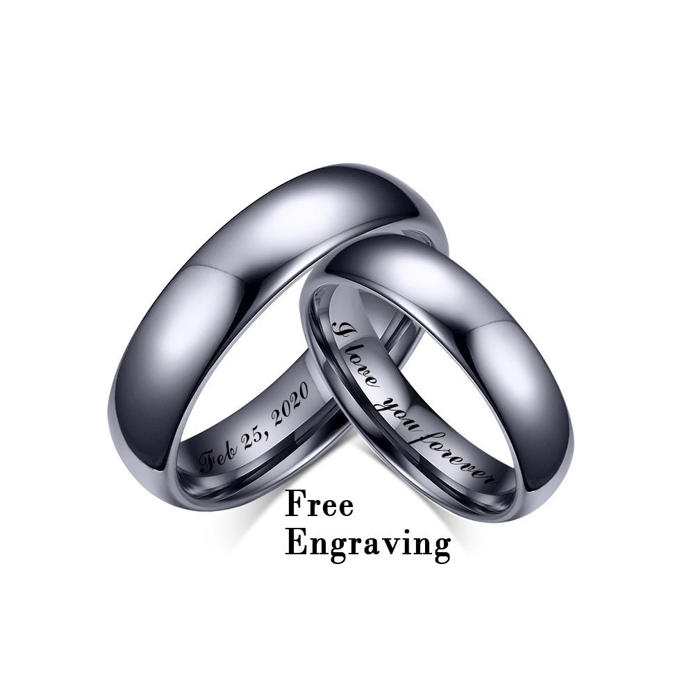 4mm/6mm Tungsten Wedding Ring Set His & Her, Hers Bands