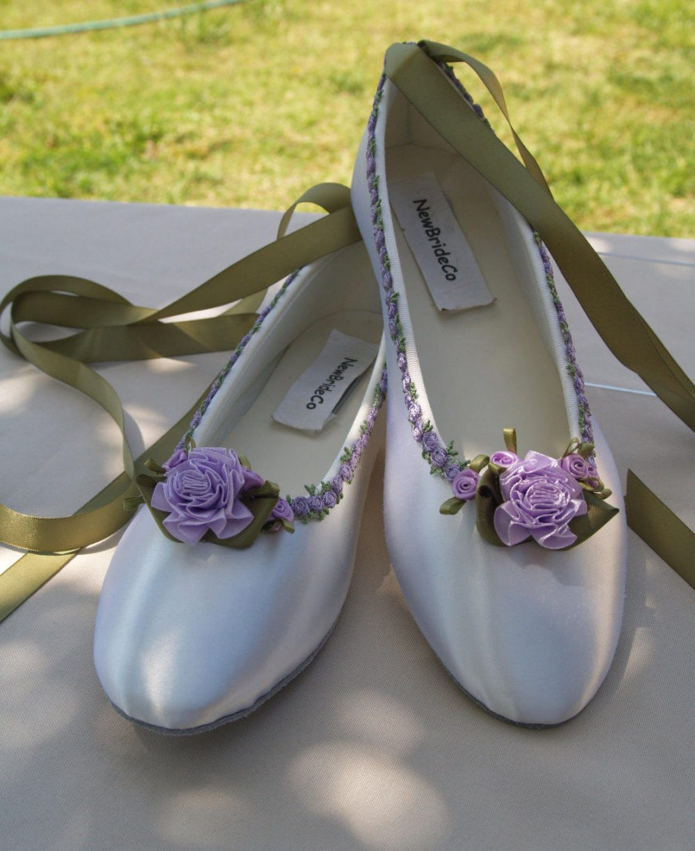 Fairy Tale Wedding Flats Lavender Flower Trim Green Lavender, Ivory Or White Ballet Style Slipper Style Lace Up Ribbon Style, Touch Lavender
