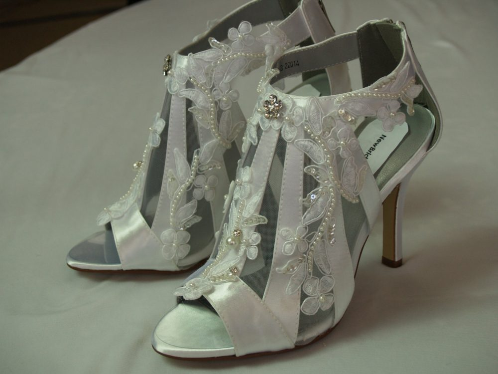 Victorian Wedding Boots Modern Shoes High Heels, Lace Appliqué Straps, Ankle Booties, Low Boots, Heels, Peep Open Toe