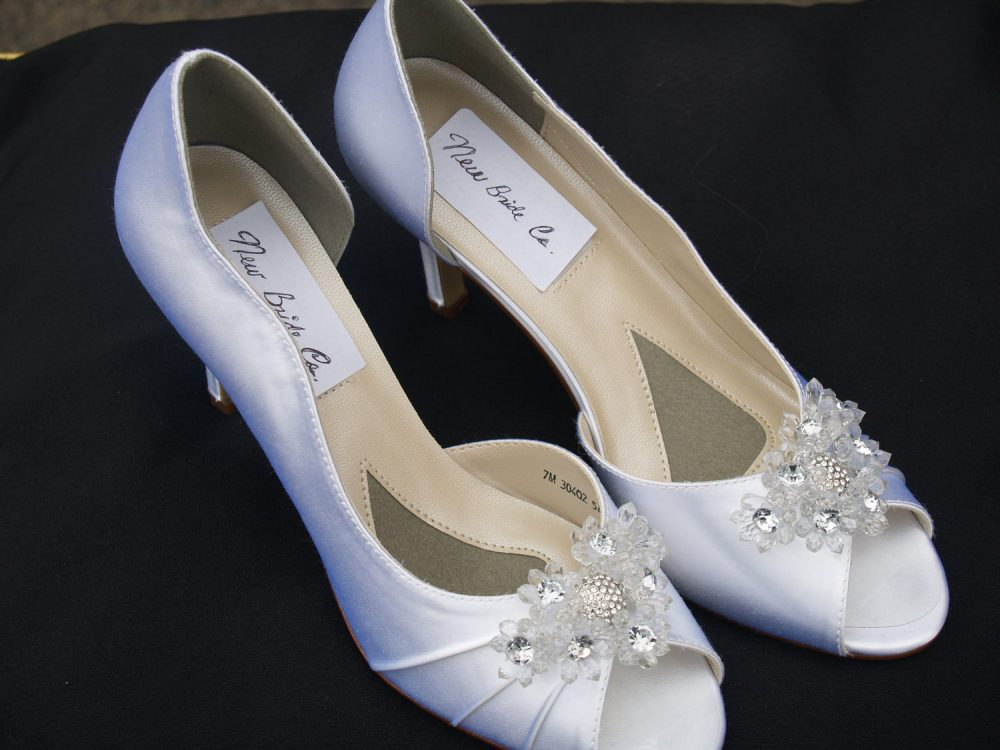 White Satin Shoes Mid Heels, Sale Wedding Shoes, White Satin Embellished Clear Flowers & Silver Crystals, Open Peep Toe D'orsay Pumps