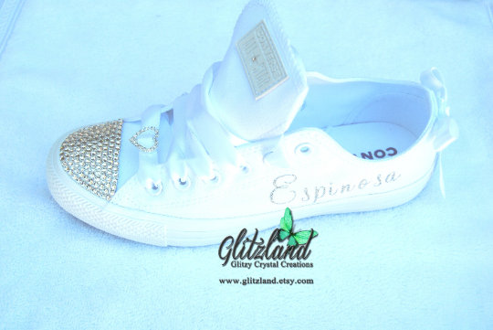 Swarovski® White Converse Wedding, Prom, Name Shoes Customized With Crystals Or Pearls | Runs Large For Women