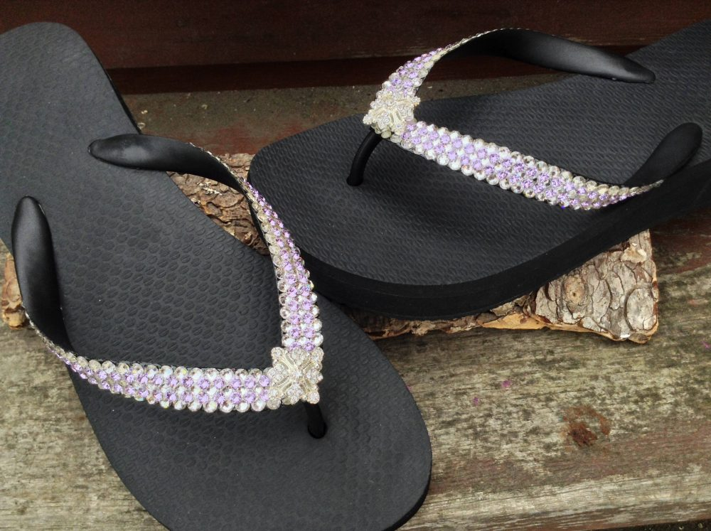 Crystal Flip Flops 3D Super Bling Sparkle Havaianas Flat Or Wedge 1.5 Heel with Swarovski Jewels Ice Cap Silver Wedding Beach Bridal Shoes