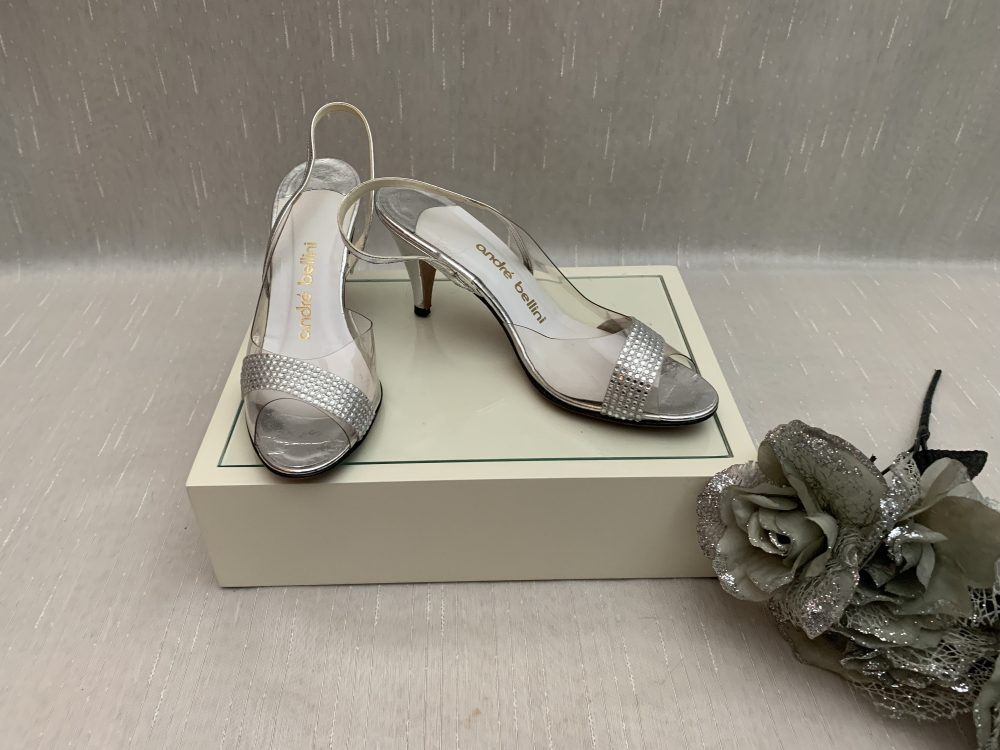 Vintage Clear Plastic Rhinestone & Silver Slingback Dress Sandals Andre Bellini, Wedding Bridal Shoes, Cinderella Shoes