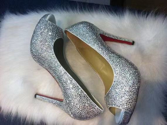 Silver Shoes For Women, Clear Rhinestone Crystal Diamonds Open Toe Heels Bling Wedding Custom Classic Heel Closed Slippers